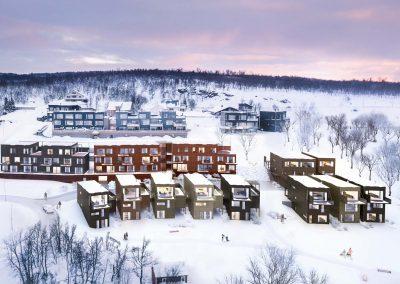 Leiligheter og villaer i rosa vinterlys