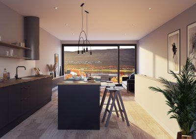 Takhøye vinduer med svart ramme og svart moderne kjøkken