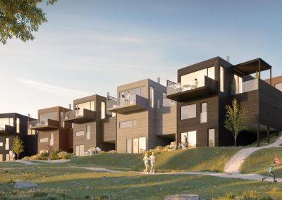 Fem villaer ute i det grønne sommerværet