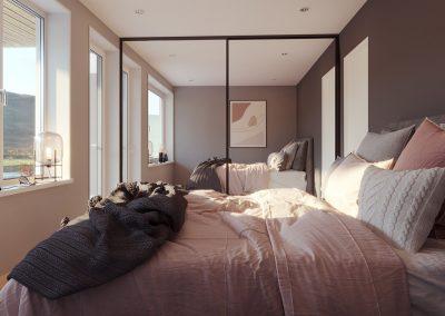 Soverom med stor seng, store vinduer og grå vegger