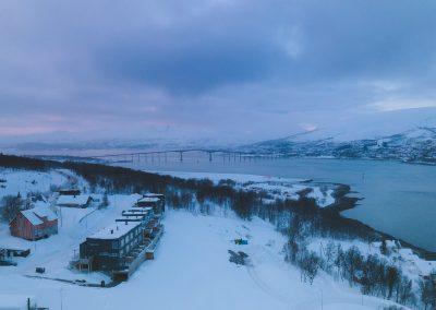 Blå og lilla himmel i Tromsø